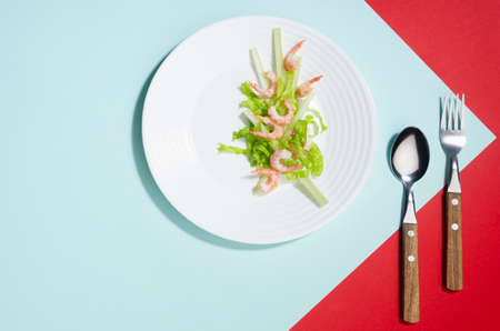 Modern elegant geometric style in food - appetizer of shrimps, greens, celery, teriyaki sauce in white plate with cutlery with shadow in sunlight on red and minty background, flat lay.