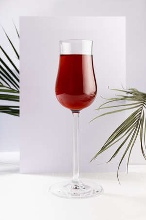 Red wine in elegant glass with summer tropical green palm leaf in sunlight with striped shadows in white abstract interior in minimal geometric style, vertical.
