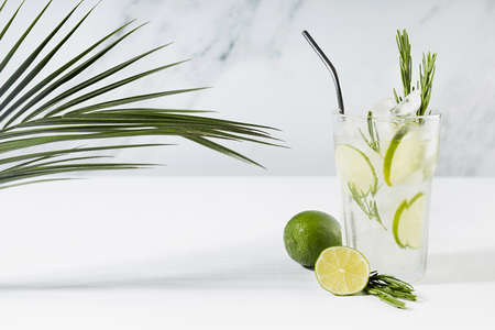 Fresh citrus infused homemade lemonade with ice cubes, lime slices, green rosemary twig, silver straw, tropical palm leaf, ingredients in soft light white kitchen interior in sunny day.