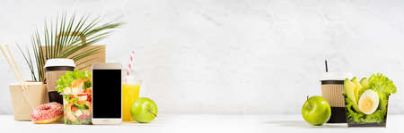 Take away food banner - set of drinks, coffee, salads with shrimp, vegetables, noodles, donut, packet in white interior, palm leaf. Mockup advertising for delivery service, restaurant, online order.