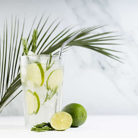 Tropical detox fresh citrus drink with ice, lime slices, green rosemary twig, silver straw, palm leaf on soft light white wood table and marble wall in sunlight, square. 免版税图像
