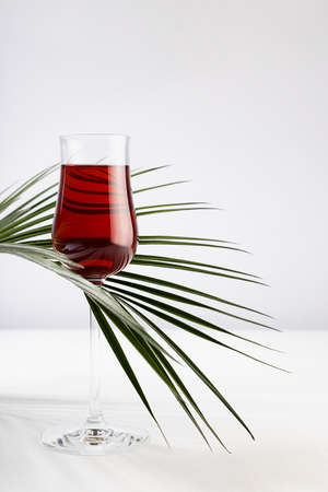 Red liquor in rich glass with curved summer bright green palm leaves as decoration in soft light white abstract interior on wood table, vertical.