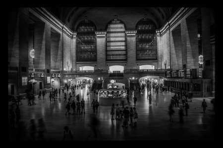a black and white view of the grand central terminal in new york Stock Photo