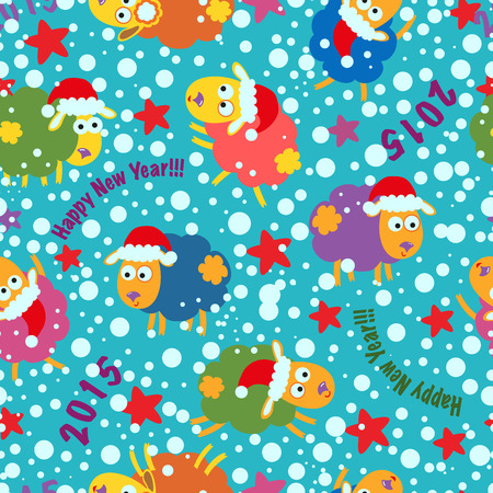 Seamless pattern with sheep. Happy New Year!