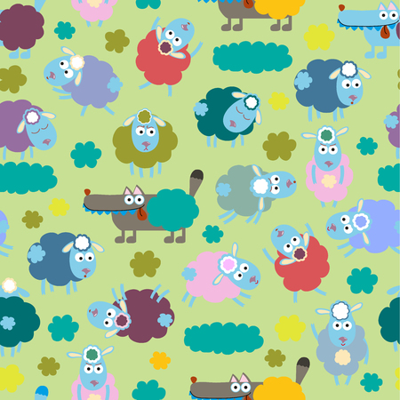 Sheep and wolf Vector