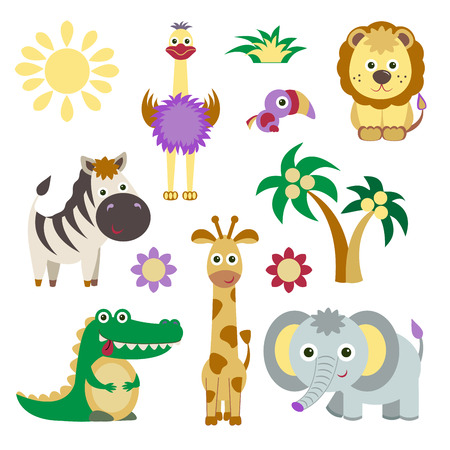zoo animals: Cute Vector Set of Zoo Animals