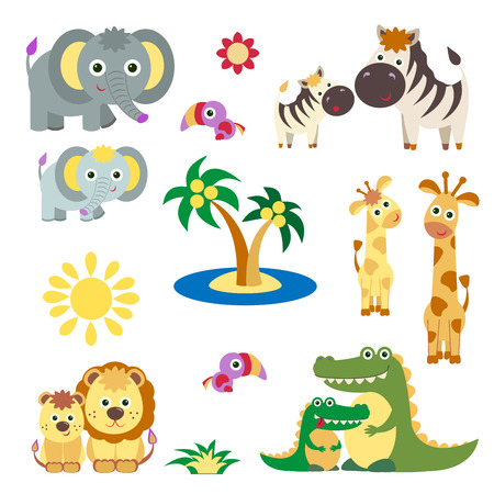 baby elephant: Cute Vector Set of Zoo Animals