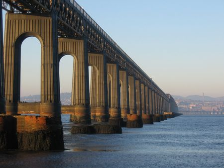 fife: Tail rail Bridge and Dundee from Fife