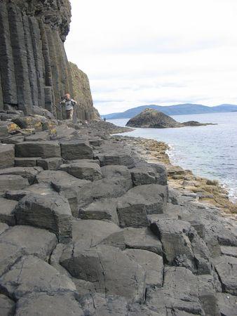 pentagonal: Hexagonal basalt Columns on the Isle of Staffa Stock Photo