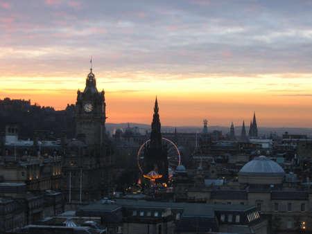 Princes Street, Edinburgh at dusk photo