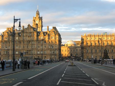 North Bridge at dusk, Edinburgh
