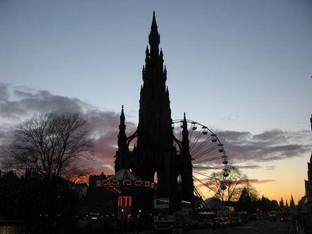 Scott Monument at dusk, Edinburgh photo