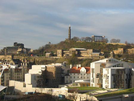 Scottish Parliament and Calton Hill, Edinburgh photo