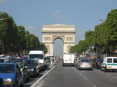 Champs Elysees and Arc de Triomphe, Paris Stock Photo