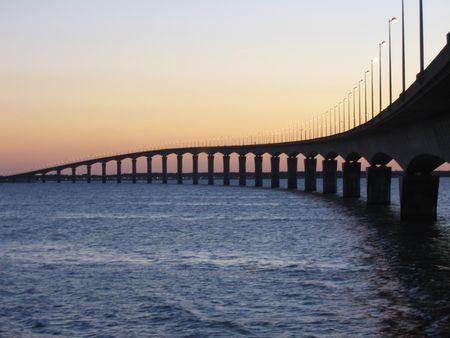 Bridge to Il de Re at dusk