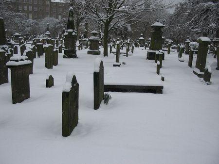 Graveyard in winter photo