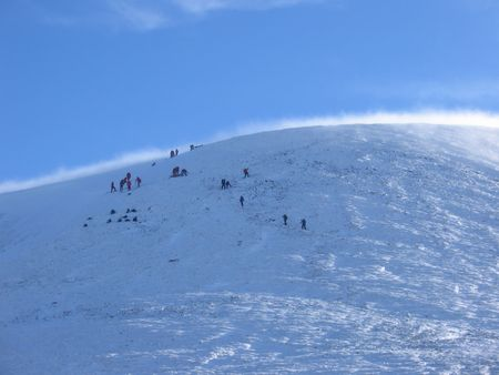 hillwalking: Approaching the summit, Glenshee Stock Photo