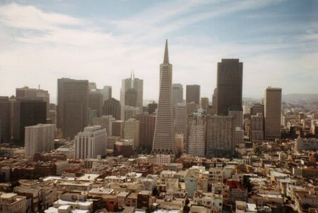 coit tower: Transamerica pyramid from Coit Tower Editorial