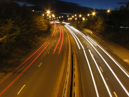 dual: Light smears on dual carriageway Stock Photo