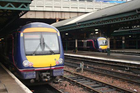 Trains in railway station