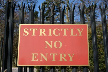 strictly: Strictly no entry sign Stock Photo