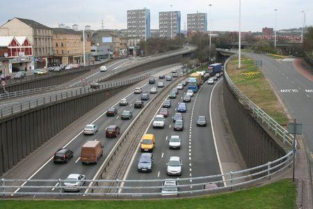 the carriageway: Urban motorway Stock Photo