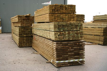 Stacks of sawn wood for construction Stock Photo
