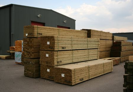 sawn: Stacks of sawn wood for construction Stock Photo