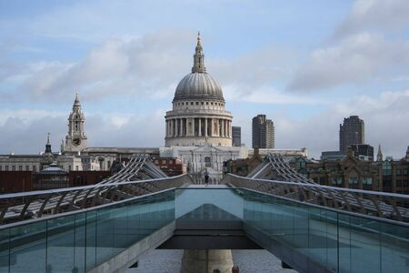 St Pauls cathedral and Millenium bridge Stock Photo - 414240