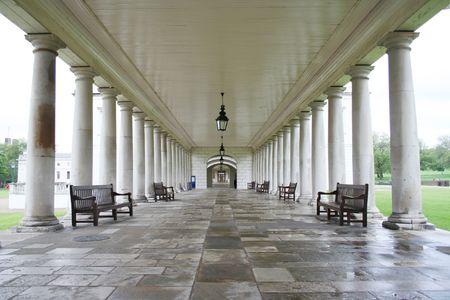 colonade: Colonade, Queens house, Greenwich, London Stock Photo
