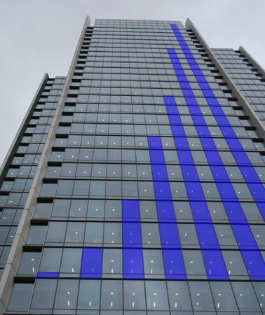 Blue Skyscraper bar chart graph photo