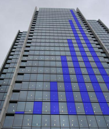 Blue Skyscraper bar chart graph
