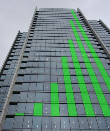 Green Skyscraper bar chart graph Stock Photo