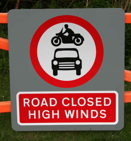high winds: Road closed high winds sign