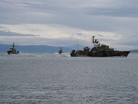 armaments: warships off Scottish coast Stock Photo