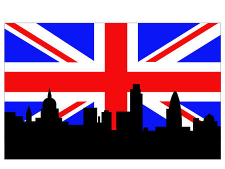 london cityscape: London Skyline and British Flag