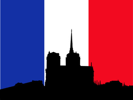 Notre Dame and French Flag Stock Vector - 441572