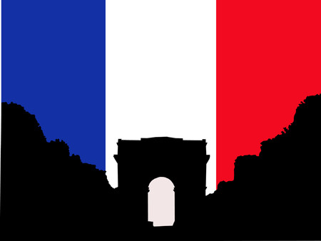 Silhouette of Arc de Triomphe and French flag Vector