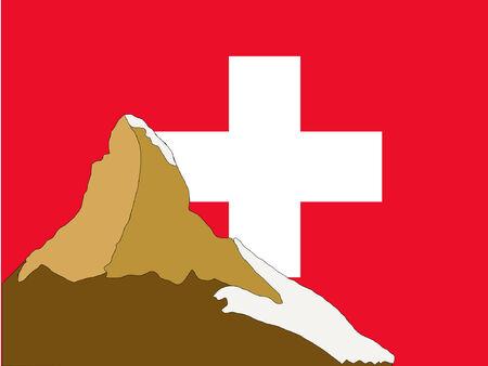 alpes suizos: Matterhorn y bandera suiza  Vectores