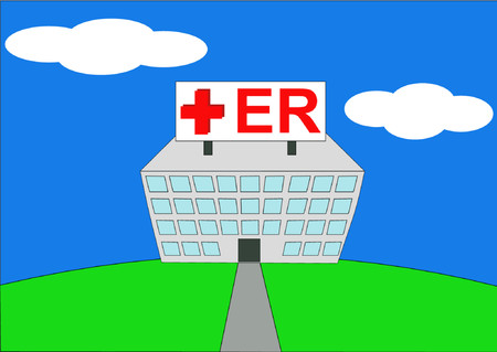 hospital sign: colorful vector illustration of ER at hospital Illustration