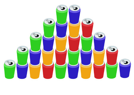 Pyramid of colorful cans