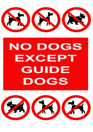 guide dog: No dogs sign