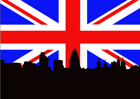 gherkin building: Tower of London against Union jack