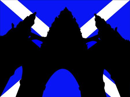 sir walter scott: Scott Monument and Scottish Flag Illustration