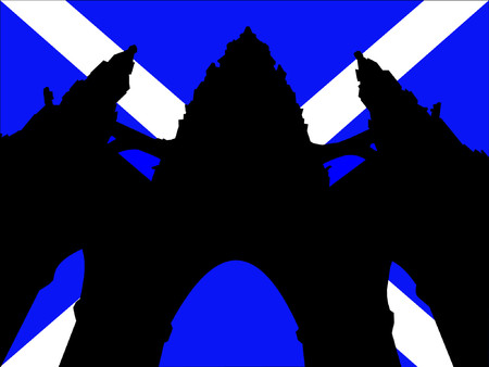 scottish flag: Scott Monument e la bandiera scozzese