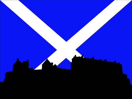 edinburgh: Edinburgh Castle en Schotse Vlag