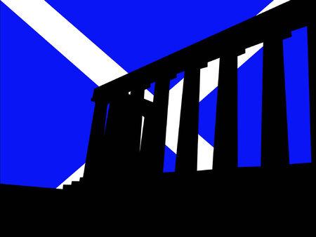 edinburgh: National Monument Edinburgh und Schottland Flagge