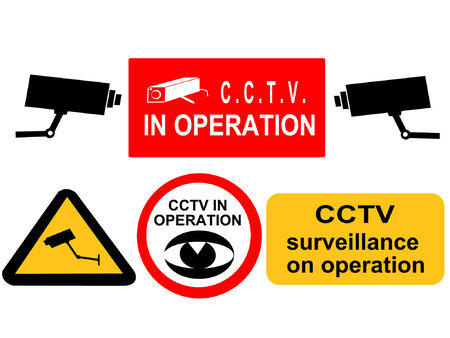 crime prevention: assorted CCTV surveillance signs