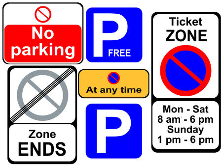 parking is prohibited: british parking signs Illustration