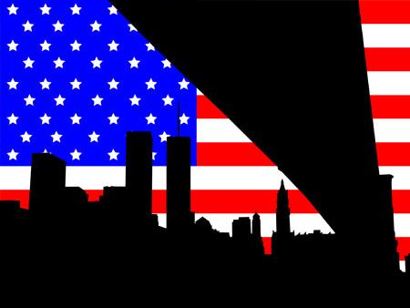 world trade center: World Trade Center against American Flag